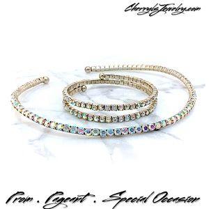 Jewelry - Vintage AB Crystal Necklace & Bracelet Set